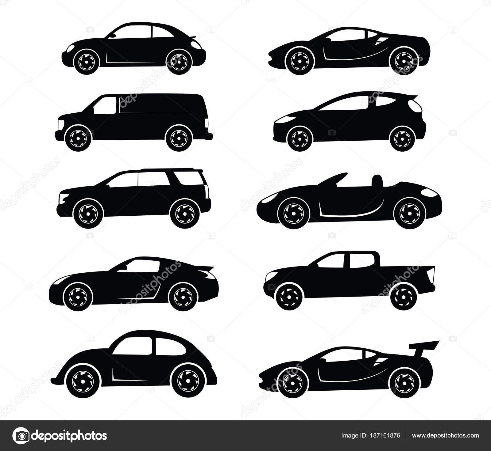 一般的な簡単なフラット車シルエット ベクトルのロゴを設定 ストック