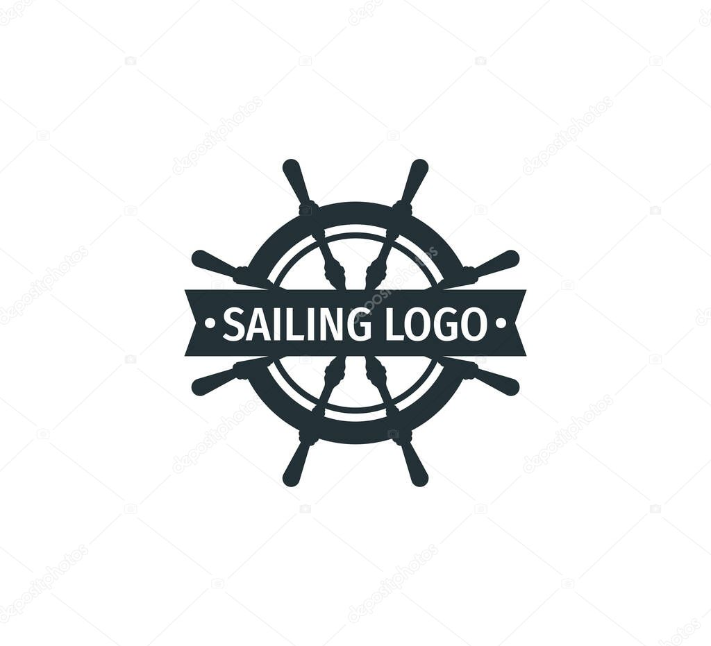 Ship Steering Wheel Nautical With Banner In The Middle Vector Logo Design Template Premium Vector In Adobe Illustrator Ai Ai Format Encapsulated Postscript Eps Eps Format