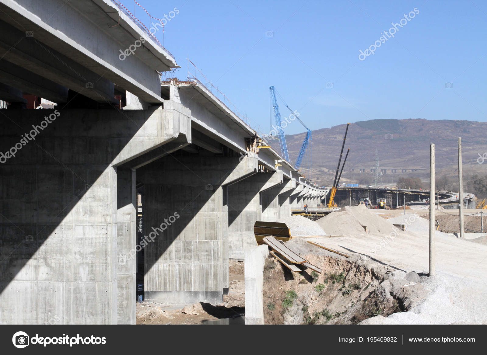 New Highway Construction New Bridge Freeway Made Concrete