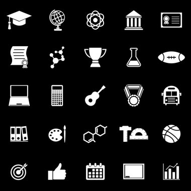 College icons on black background