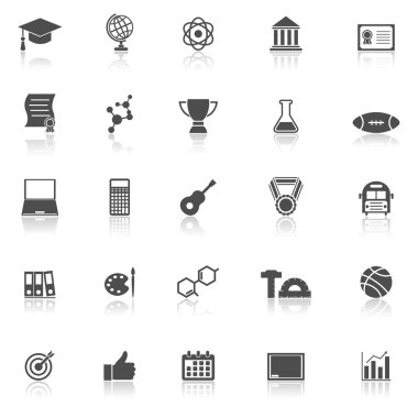 College icons with reflect on white background