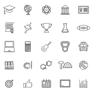 College line icons on white background