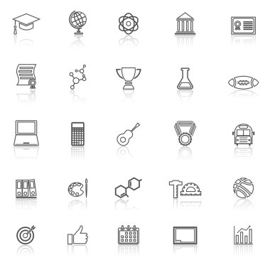 College line icons with reflect on white background