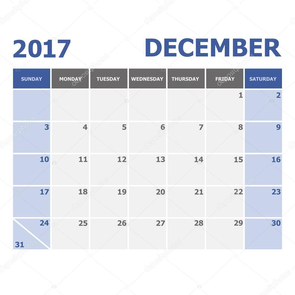 Semana Do Calendário Dezembro 2017 Inicia No Domingo Vetor De