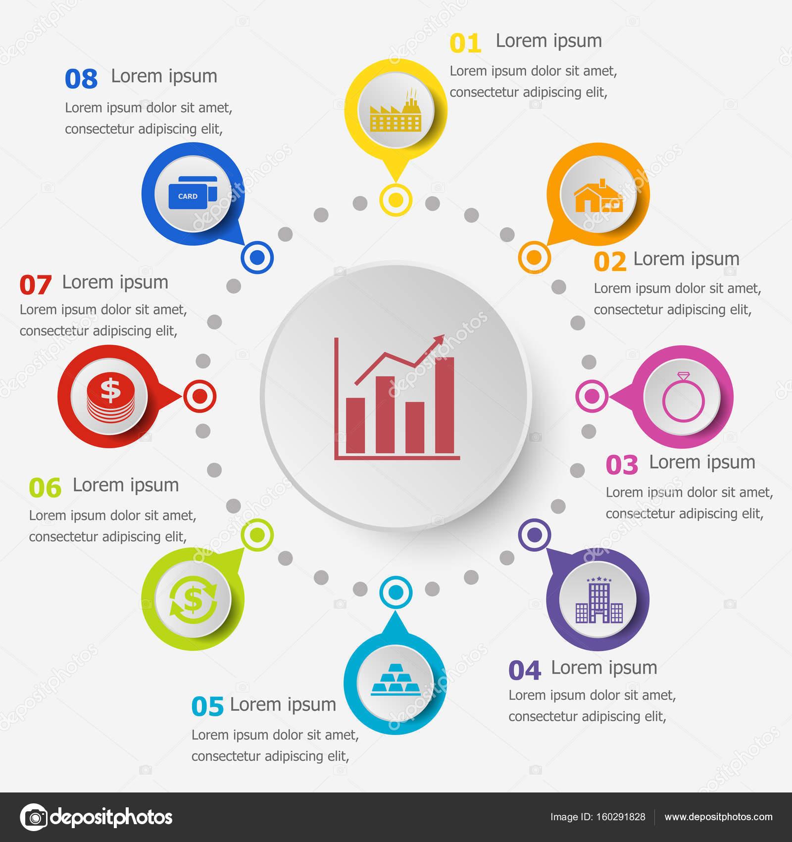 Plantilla de infografía con los iconos de préstamo — Vector de stock ...