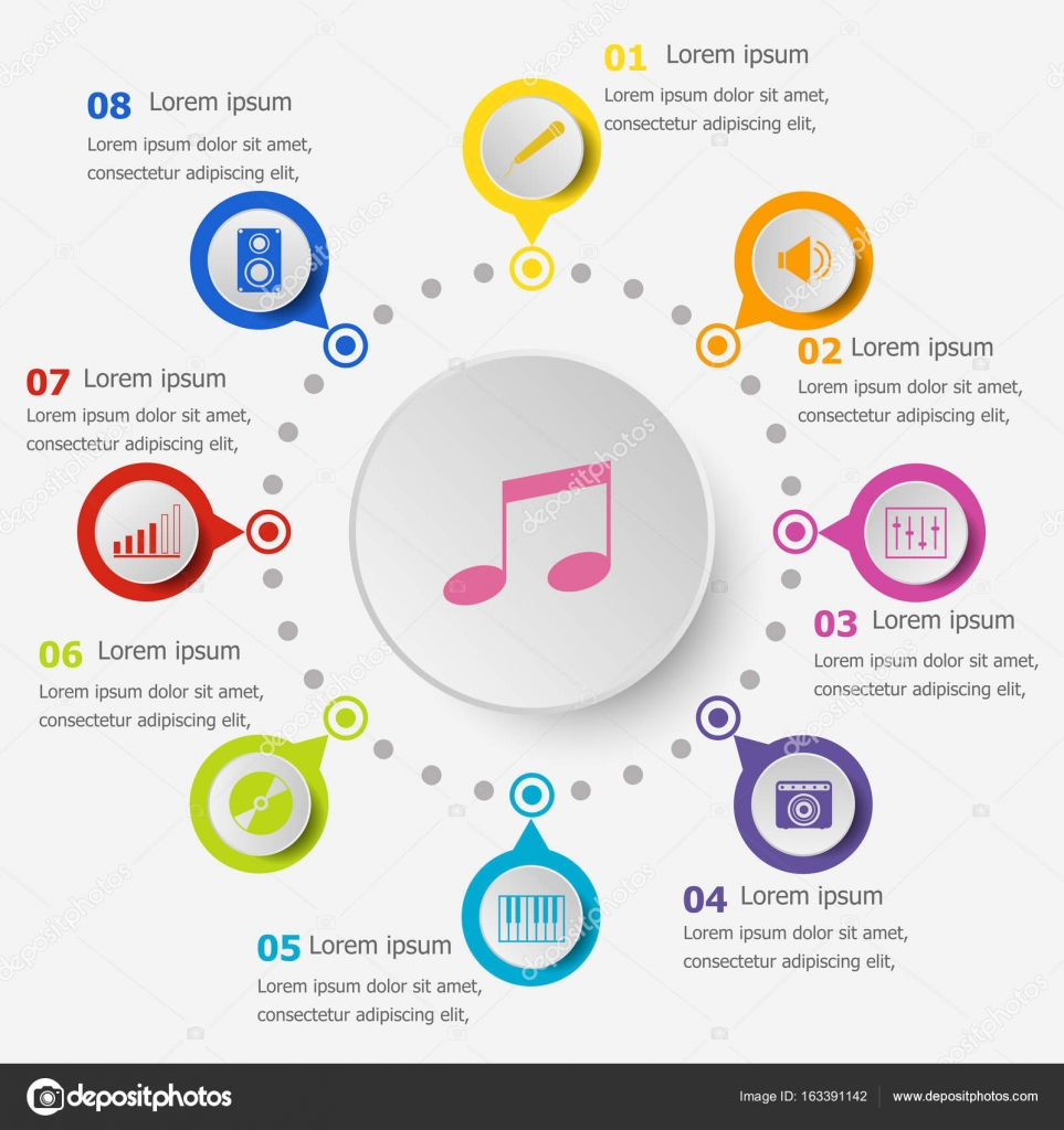 Infografik-Vorlage mit Musik-Ikonen — Stockvektor © punsayaporn ...