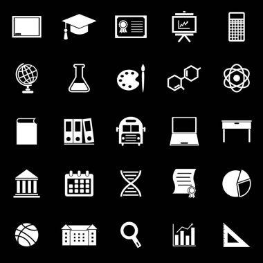 Education icons on black background