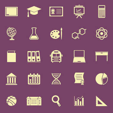 Education color icons on purple background