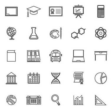 Education line icons on white background
