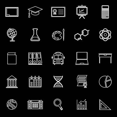 Education line icons on black background