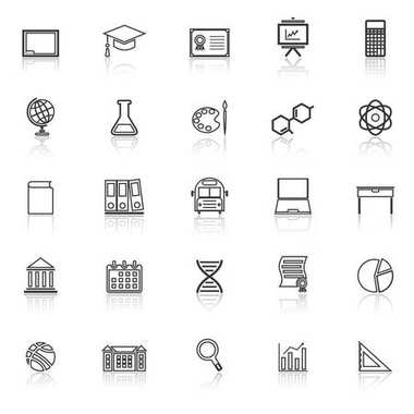 Education line icons with reflect on white background