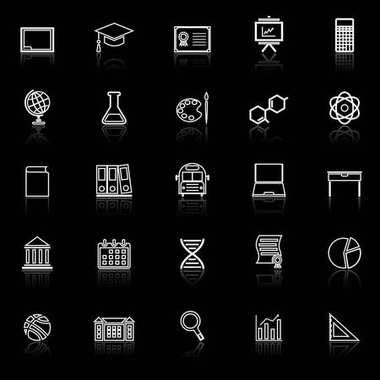 Education line icons with reflect on black background
