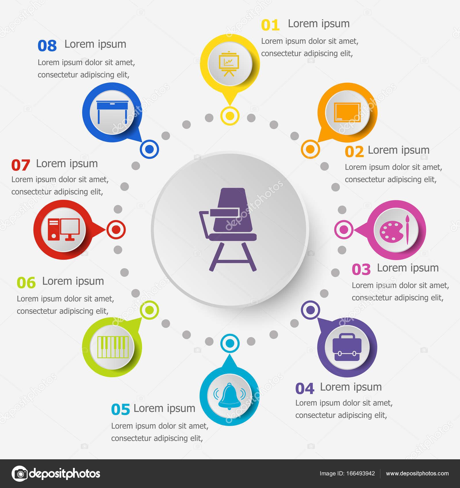 Infografik-Vorlage mit Klassenzimmer icons — Stockvektor ...