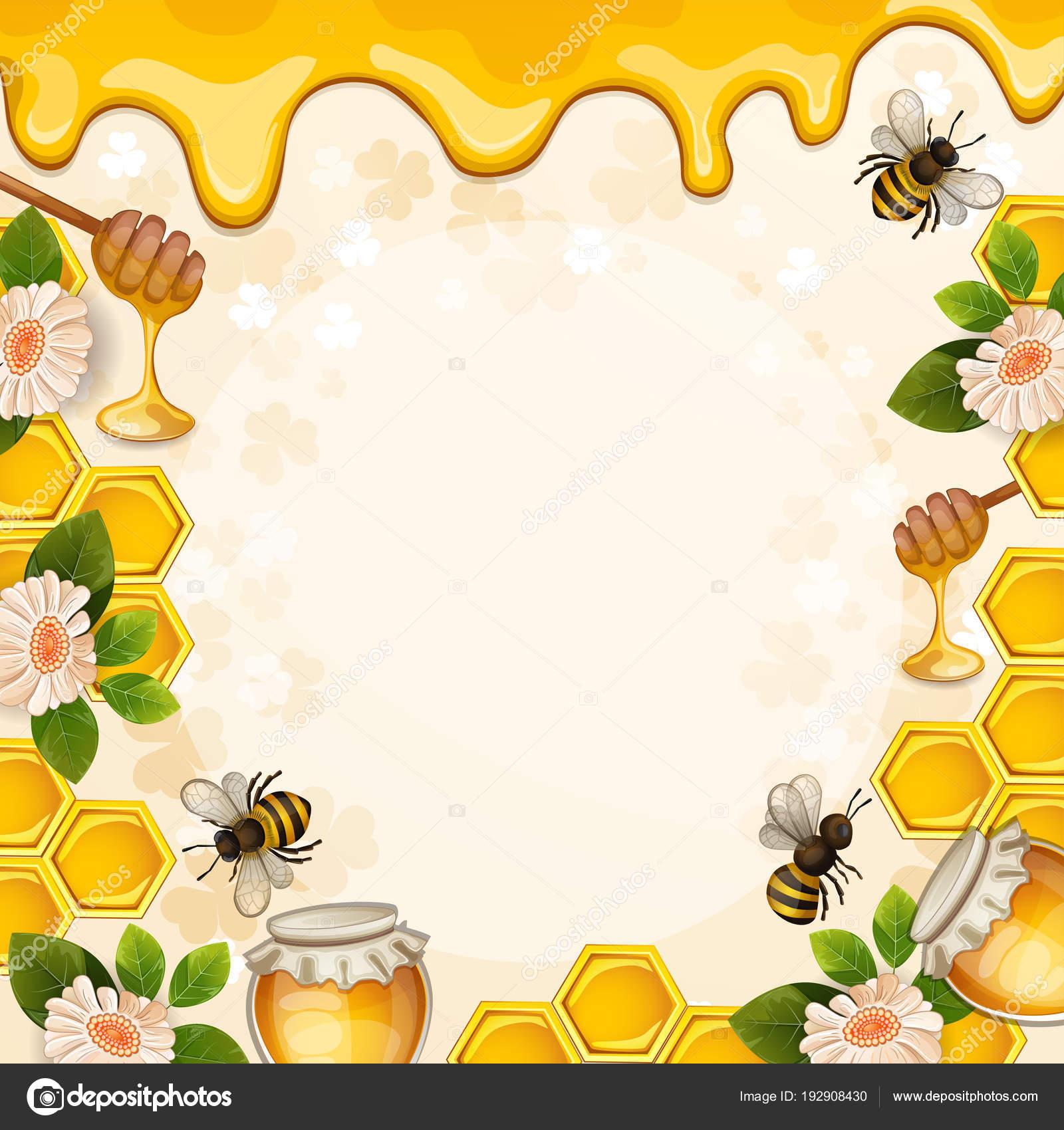 Beautiful Background Bees Honey Jar Flowers Honeycomb Stock Vector
