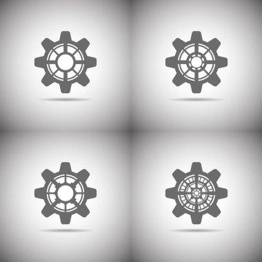 Gear icon set on white background