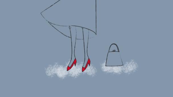 Zenske nohy s červené boty