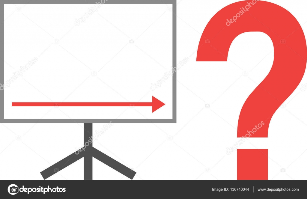 Arrow Pointing Right Down On Board With Question Mark Stock Vector