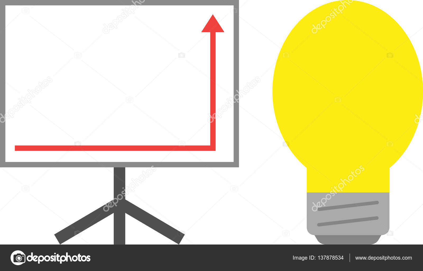 Board With Lightbulb And Arrow Right Down And Up Stock Vector