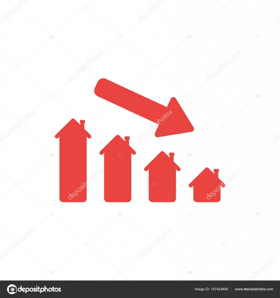 Hausverkäufe flaches design stil vektor konzept der hausverkäufe oder wert bar
