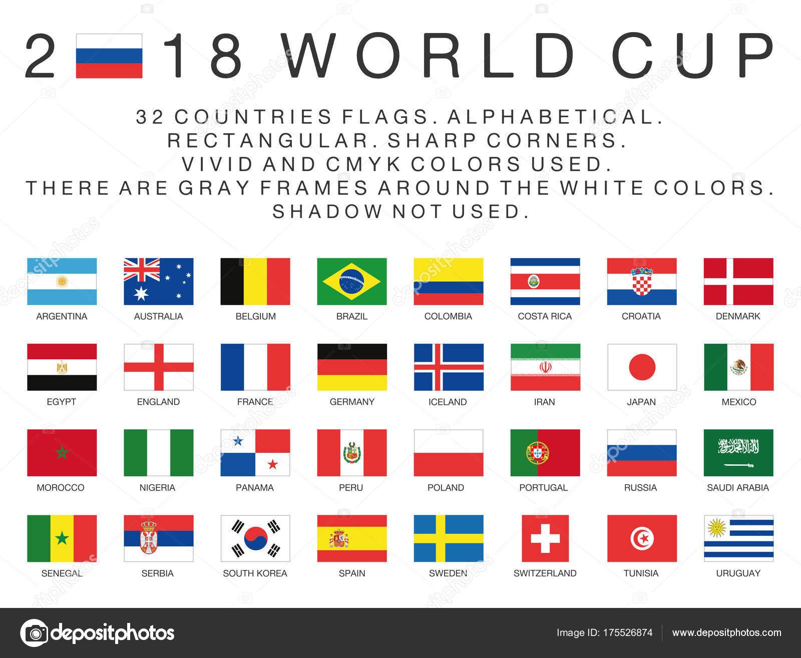 les drapeaux rectangulaires de 2018 pays de la coupe du