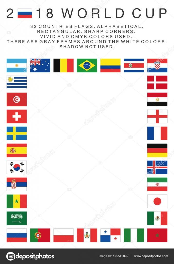 Bandeiras rectangulares de 2018 Copa do mundo de países