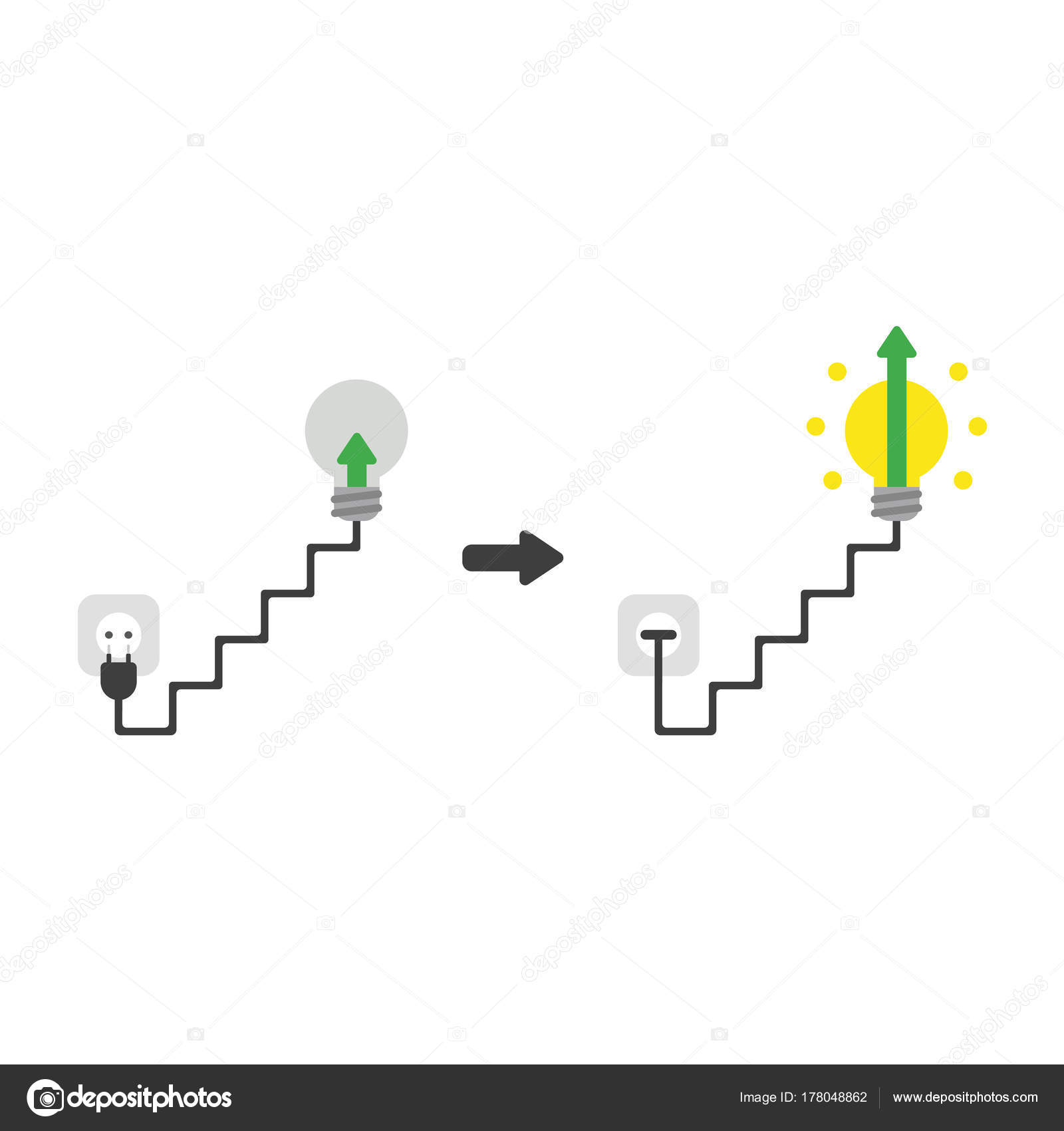 Flat design vector concept of arrow in grey light bulb plugged flat design vector illustration concept of green arrow in grey lightbulb symbol icon with cable plug and outlet and plugged into outlet and light bulb buycottarizona Choice Image