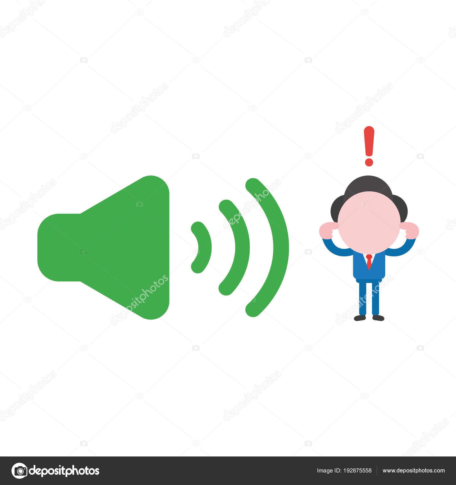 Vector Illustration Geschäftsmann geschlossen Ohren, lauter Stimme ...