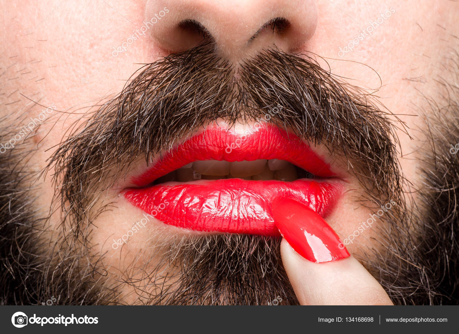 Man with Lipstick and Nail Polish — Stock Photo © mrkornflakes ...