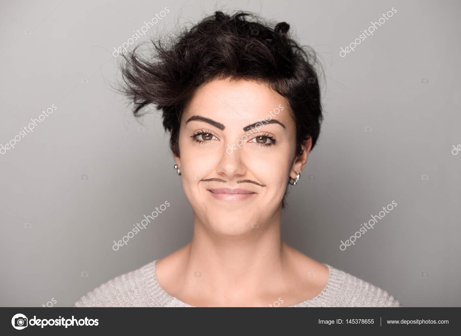 Mulher com bigode desenhado — Fotografia de Stock