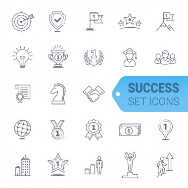 Simple Set of Winning Related Vector Line Icons.