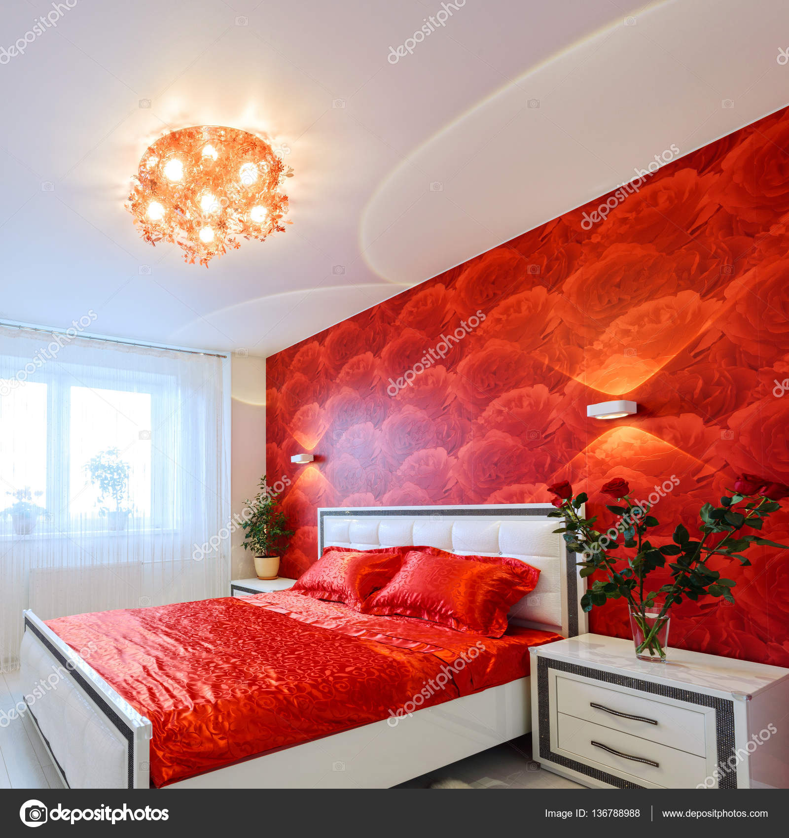 Camera da letto lussuosa in rosso e bianco — Foto Stock ...