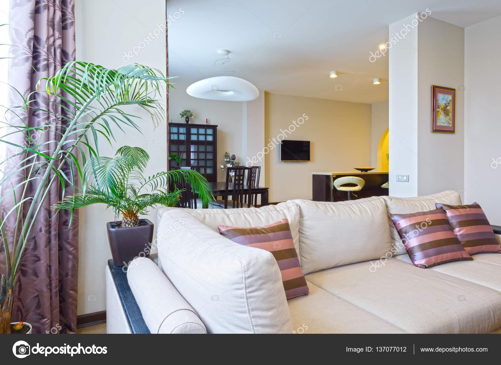 Das Innere aus einem schönen Wohnzimmer mit modernen Möbeln in ...