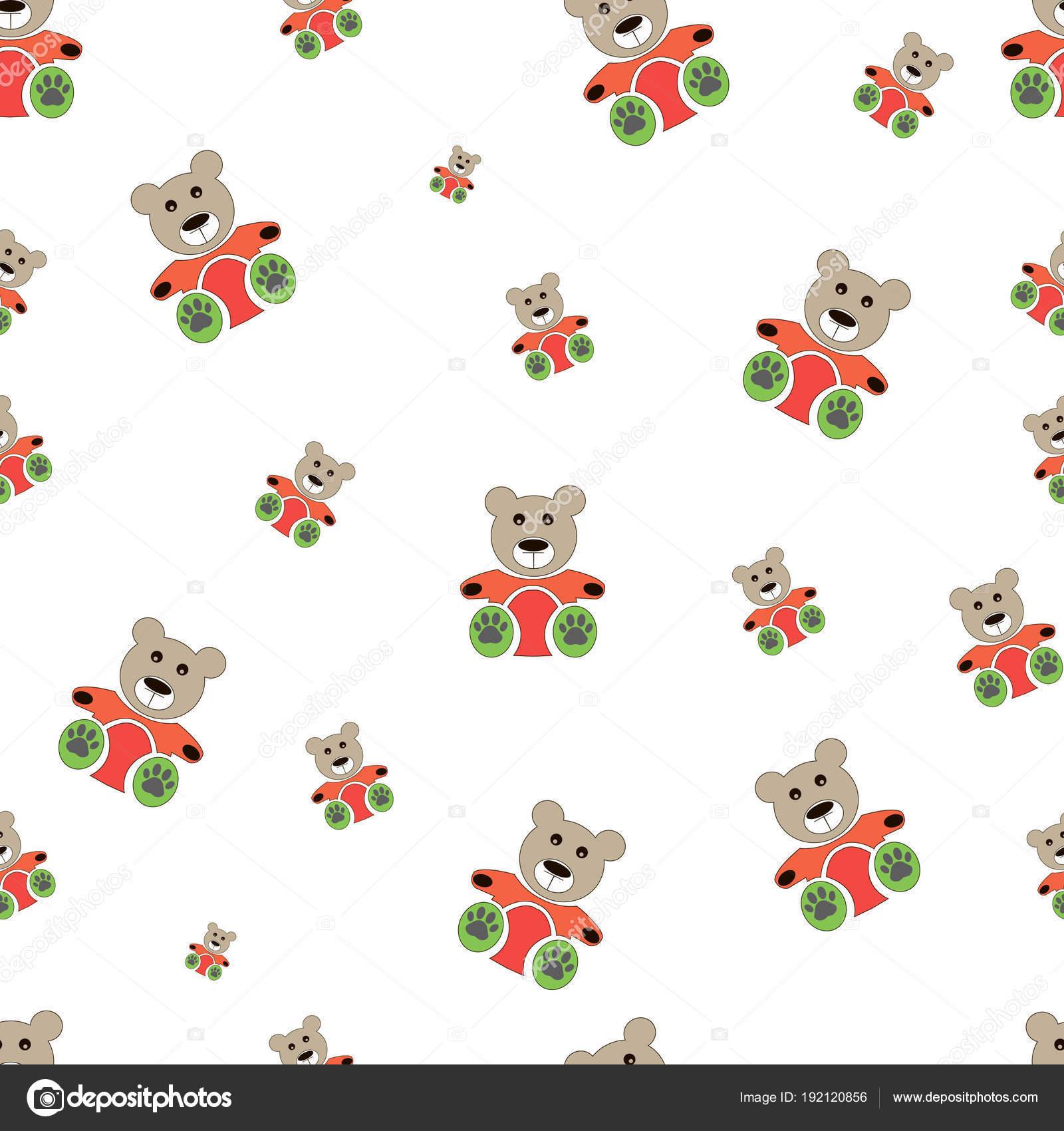 oso de peluche patrón sin costuras en blanco. Ilustración de vector ...