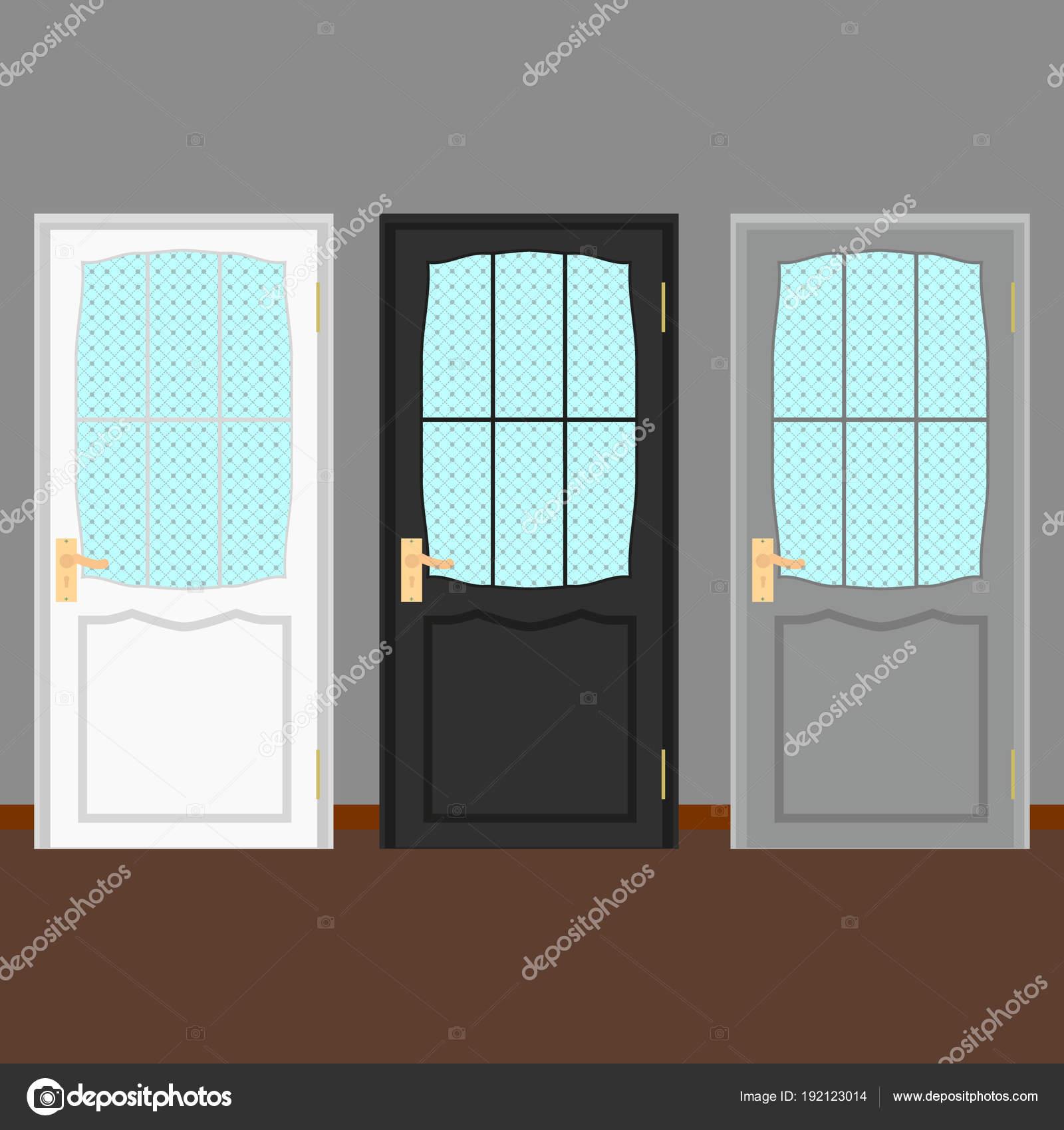 Vektor-bunte geschlossen Tür mit Rahmen Isolated.Realistic und ...