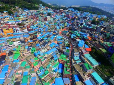 Aerial View of Gamcheon Culture Village, Sahagu, Busan, South Korea, Asia