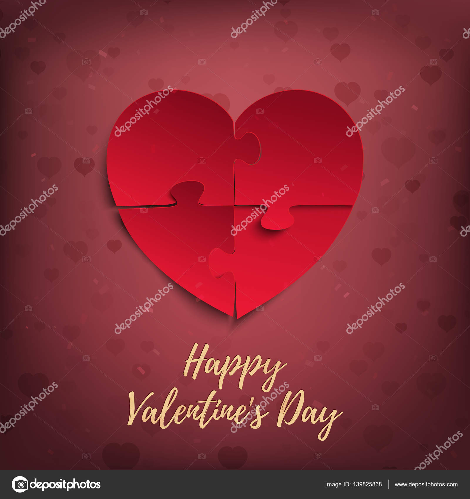 Happy Valentines Day Greeting Card Template Stock Vector