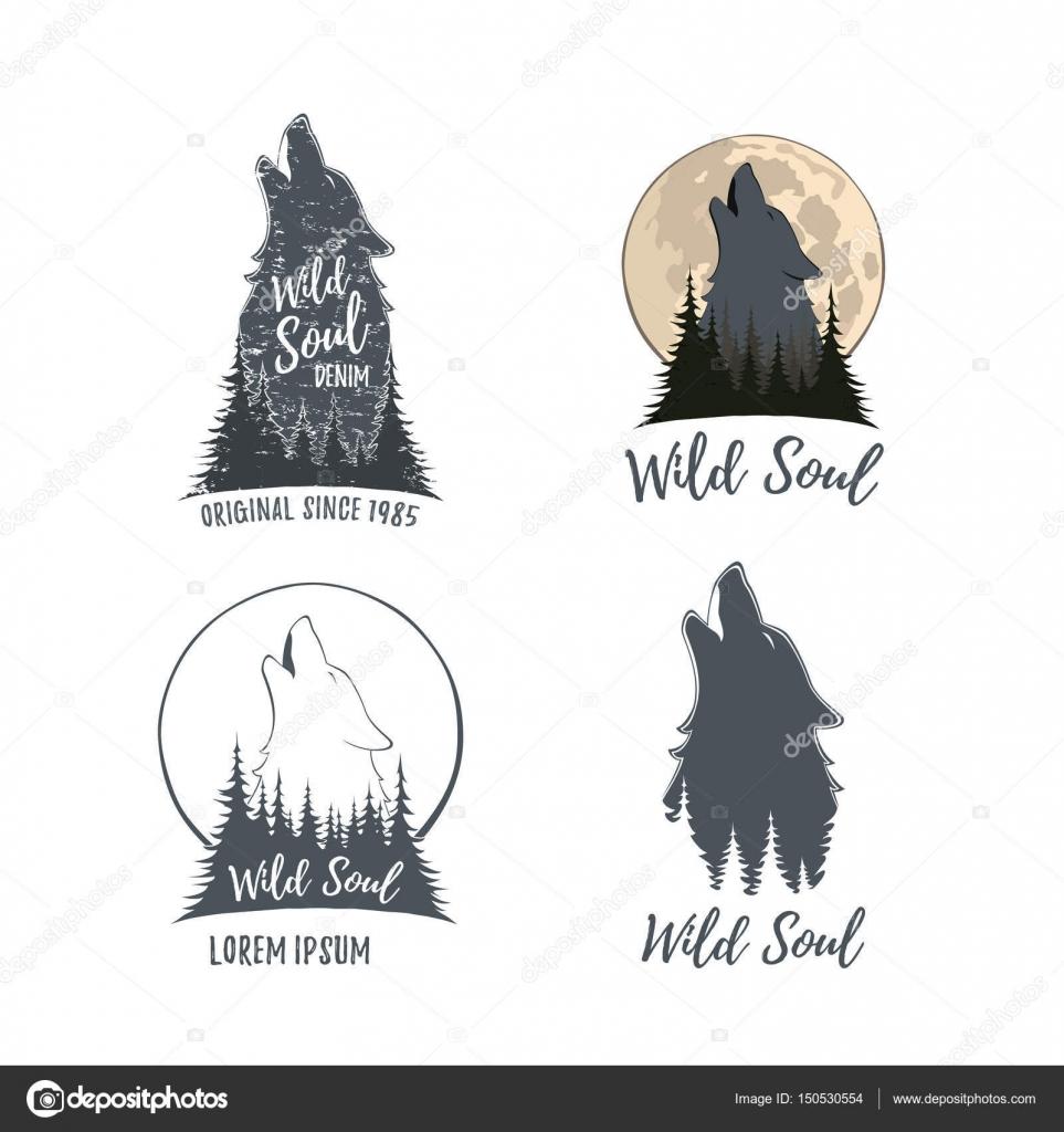 Conjunto De Cuatro Lobo Aullando A La Luna En El Bosque Archivo
