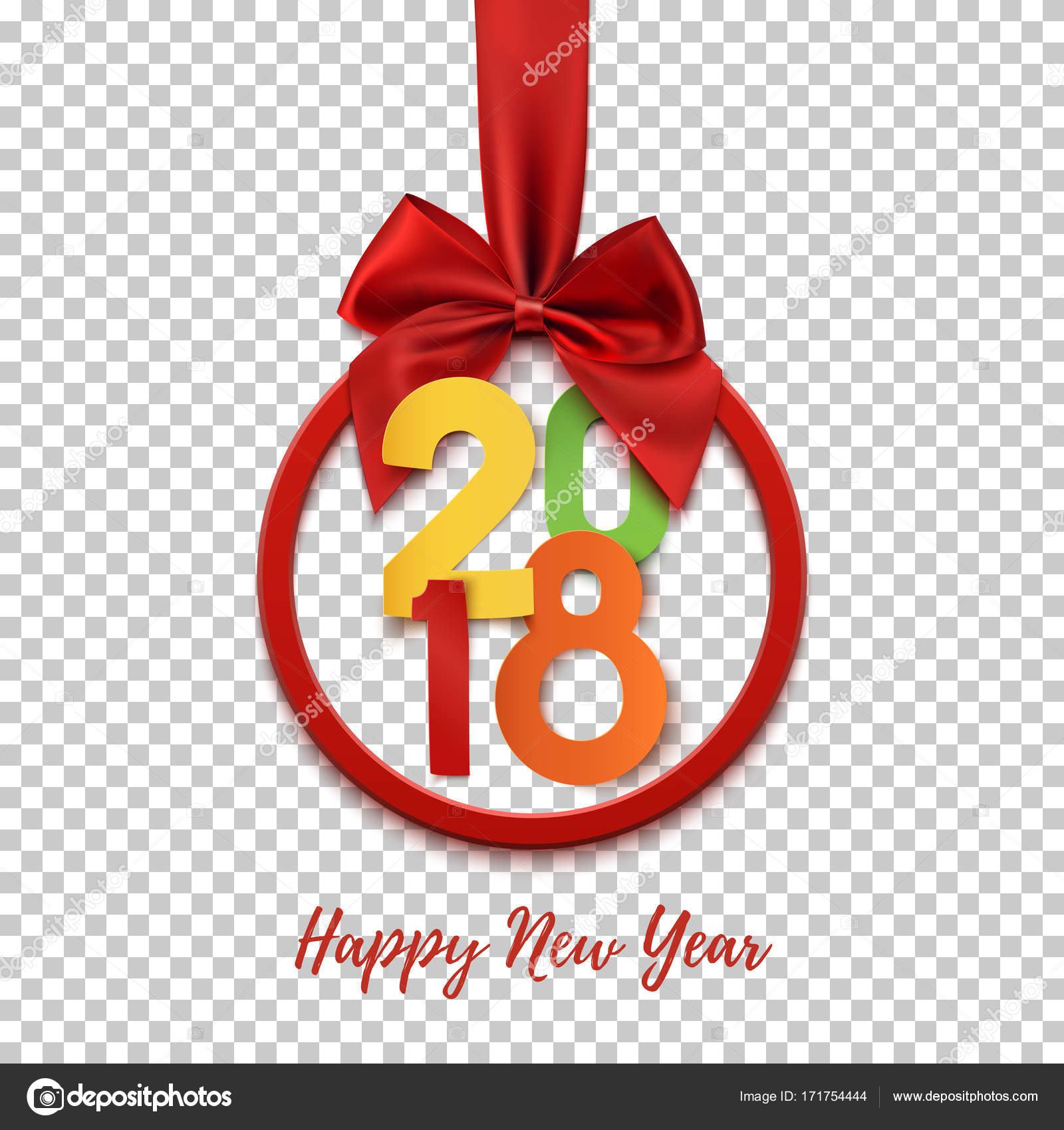 Happy new year 2018 round banner with red ribbon and bow stock happy new year 2018 round banner with red ribbon and bow on transparent background colorful christmas tree decoration greeting card flyer poster or voltagebd Gallery