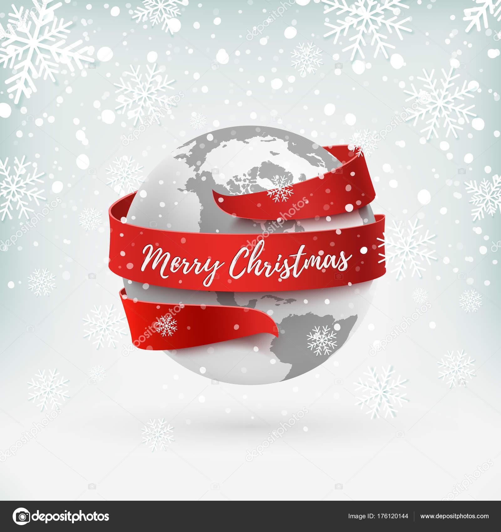 Frohe Weihnachten Band.Frohe Weihnachten Earth Symbol Mit Rotem Band Drumherum