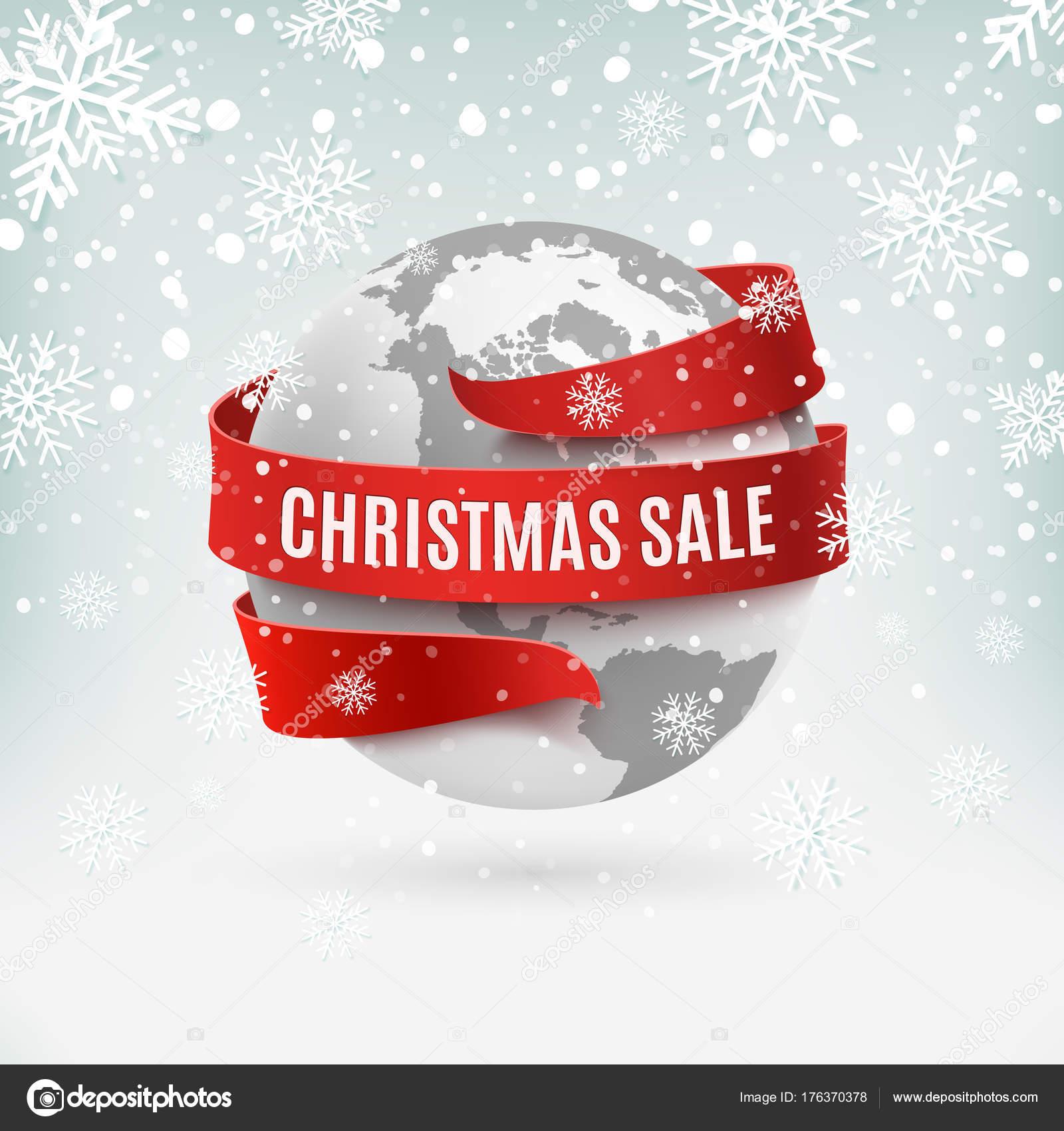 Venta de Navidad, icono de la tierra con cinta roja, sobre fondo de ...