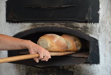freshly baked bread out of an old timey wood fired oven