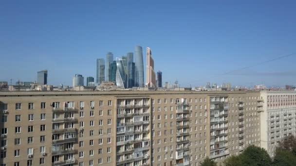 Moscow City mrakodrapů, letecký pohled. Kancelář obchodního centra Moskvy city