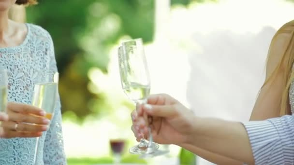 Women drinking White Wine, toasting Enjoying time together. Party outdoors. Sophisticated Holiday Vacation Birthday, Celebration. Festive Concept.