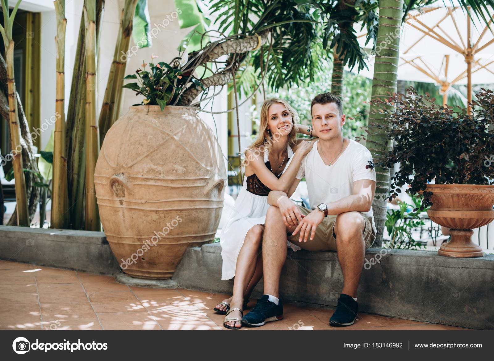 Spouses Walking Streets Italy Honeymoon Love Story Stock Photo