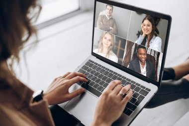 video conference business colleague comminacation online freelancer distant work laptop man woman