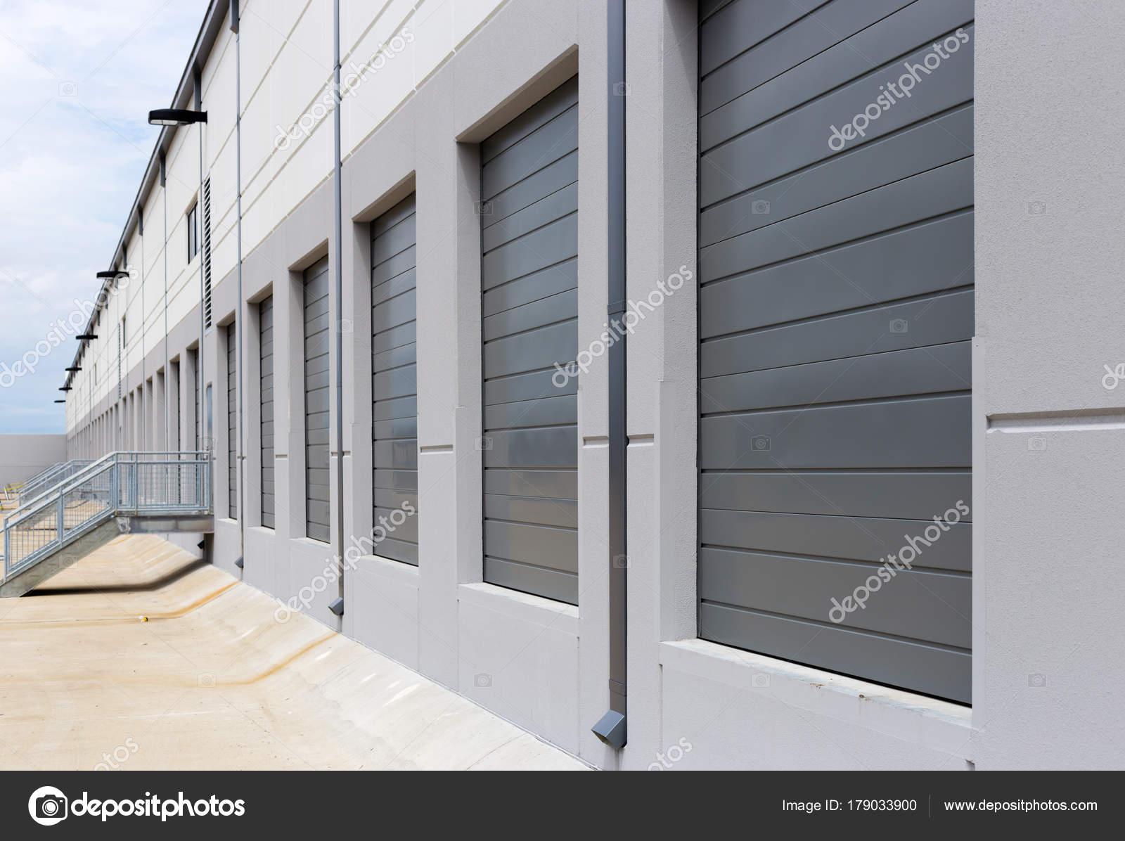 New Construction Warehouse Loading Dock White Walls Gray Metal S
