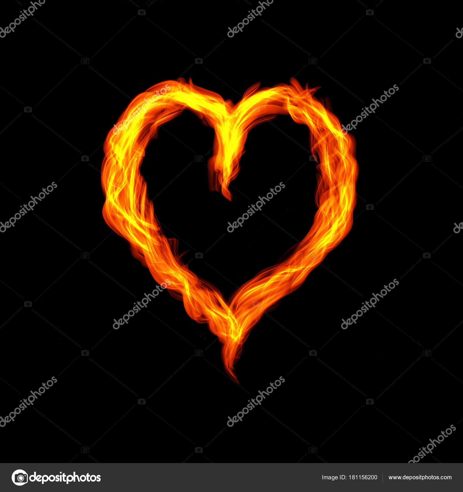 Heiß Feuer Herzen brennen auf schwarzem Hintergrund. Leidenschaft ...