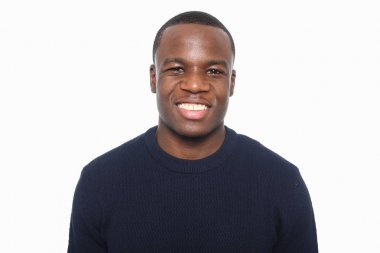 happy black man in front of a white background