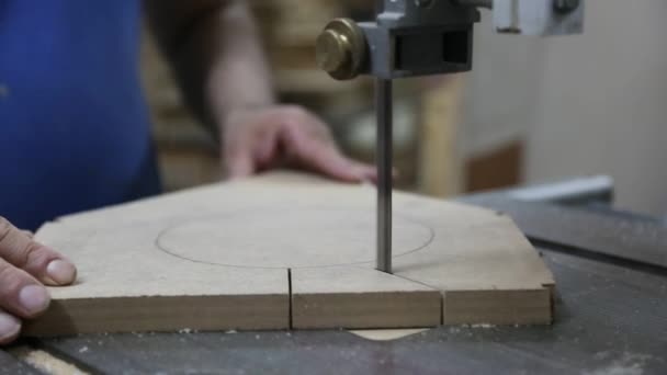 Cutting Wood in Carpenter Workshop with Table Circular Saw