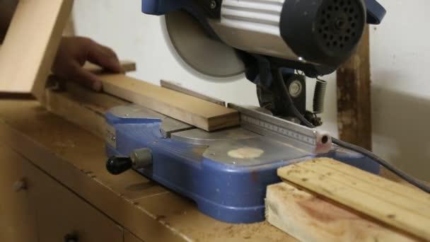 Circular Table Saw Cutting Wood in Carpenter Workshop